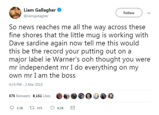 Liam Gallagher mocks 'little mug' Noel for working with