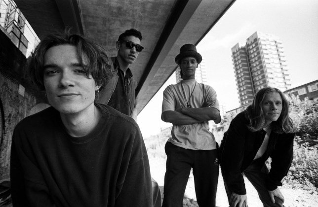 The Prodigy, group portrait, by the Westway in London, including band members Liam Howlett, Keith Flint, Maxim and Leroy Thornhill, United Kingdom, 1991. (Photo by Martyn Goodacre/Getty Images)