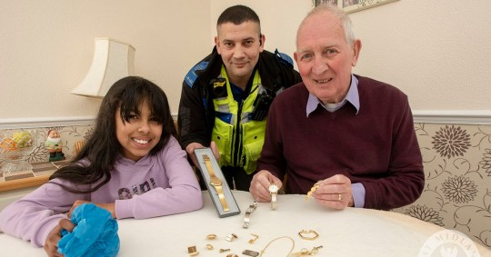 Girl, 9, reunites pensioner, 77, with late wife's jewelry after house was ransacked by burglarsPCSO Nadeem Mahmood returns sentimental gold jewellery to Mr Joseph Smith who had lost it during a burglary. The jewellery was found by Tamiia Laville aged 9 after she volunteered to clean up her community when PCSO Nadeem Mahmood organised an action day. Tamiia discovered the jewellery when she picked up a disregarded plastic carrier bag hidden in a bush.Credit: West Midlands Police