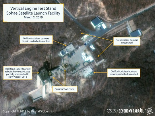 The Sohae Satellite Launching Station features what researchers of Beyond Parallel, a CSIS project, describe as the vertical engine stand partially rebuilt with two construction cranes, several vehicles and supplies laying on the ground in a commercial satellite image taken over Tongchang-ri, North Korea on March 2, 2019 and released March 5, 2019. CSIS/Beyond Parallel/DigitalGlobe 2019 via REUTERS. ATTENTION EDITORS - THIS IMAGE WAS PROVIDED BY A THIRD PARTY. NO SALES, NO ARCHIVES. MANDATORY CREDIT.
