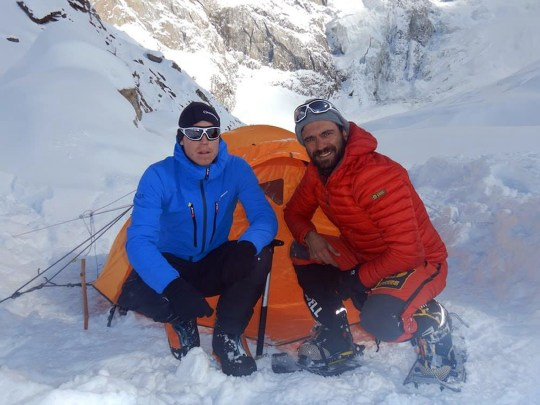 "Image of Tom Ballard and Daniele Nardi at base camp Nanga Parbat - Two climbers missing on a mountain in Pakistan are thought to have been killed in an avalanche, as rescuers called off the search for the men. Briton Tom Ballard and Italian Daniele Nardi last made contact from an altitude of about 6,300m (20,669 ft) at Nanga Parbat, on 24 February. Helicopter, drone and ground searches found no trace of either of the men, who are now thought to be dead. Rescue attempts had been delayed due to bad weather and tensions in the region. Local reports have said it was believed the pair were hit by a ""huge avalanche"" during the night, the sound of which was apparently heard by villagers miles away, and it ""is now assumed they are dead"". Picture: Universal News And Sport (UK) 06/03/2019"