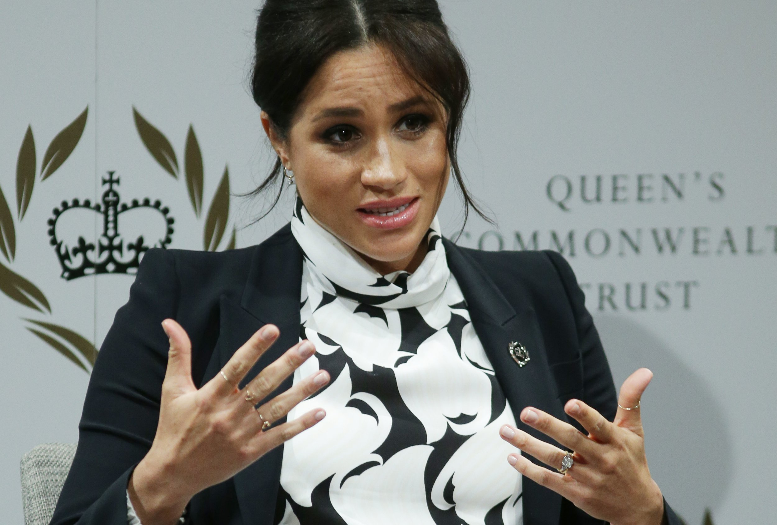 The Duchess of Sussex during a panel discussion convened by The Queen's Commonwealth Trust to mark International Women's Day at King's College in London. PRESS ASSOCIATION Photo. Picture date: Friday March 8, 2019. See PA story ROYAL Meghan. Photo credit should read: Daniel Leal-Olivas/AFP/PA Wire