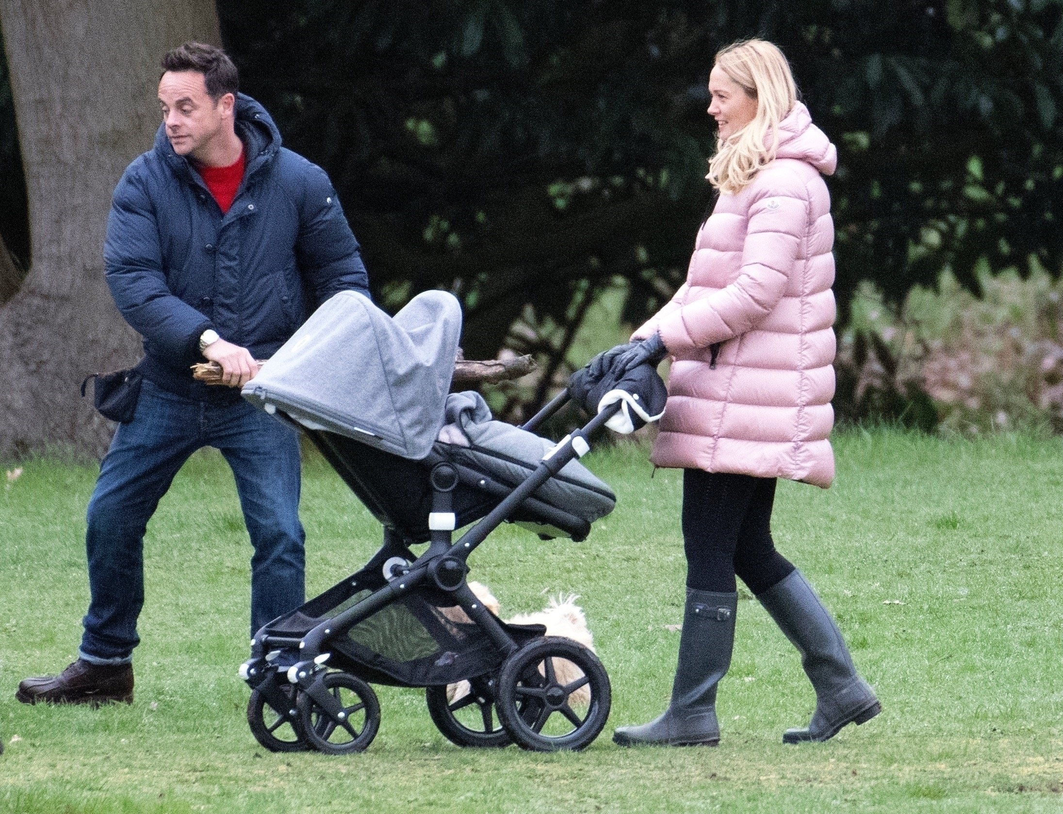 Ant McPartlin and Anne-Marie Corbett gets hands on with pram as they dote on Dec Donnelly's baby girl