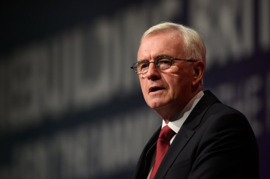 LIVERPOOL, ENGLAND - SEPTEMBER 24: Shadow Chancellor of the Exchequer John McDonnell addresses delegates in the Exhibition Centre Liverpool during day two of the annual Labour Party conference on September 24, 2018 in Liverpool, England. Labour's official slogan for the conference is ?Rebuilding Britain, for the many, not the few?. (Photo by Leon Neal/Getty Images)