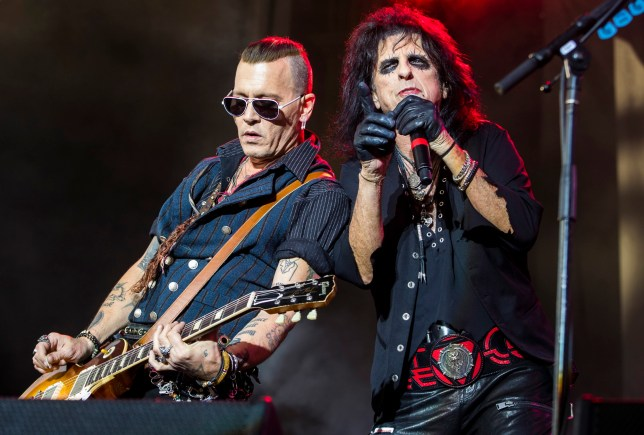 STOCKHOLM, SWEDEN - JUNE 07: Johnny Depp and Alice Cooper of the band Hollywood Vampires perform in concert at Grona Lund on June 7, 2018 in Stockholm, Sweden. (Photo by MICHAEL CAMPANELLA/Redferns)