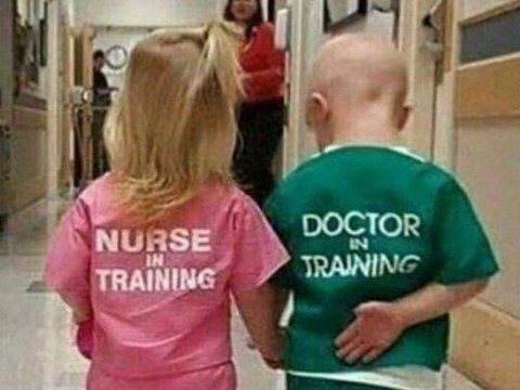 Is this picture of a doctor and nurse 'in training' sexist?
