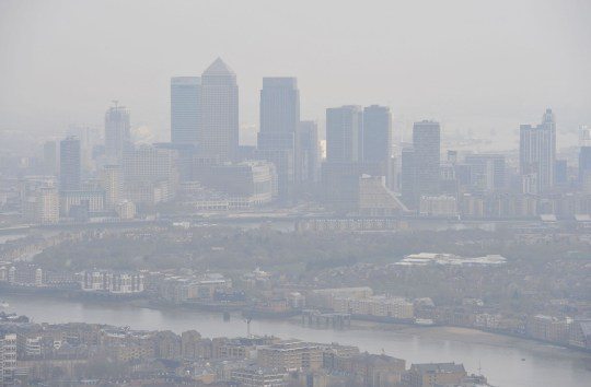File photo dated 10/04/15 of air pollution over London. Air pollution is a bigger global killer than smoking, research has shown. PRESS ASSOCIATION Photo. Issue date: Tuesday March 12, 2019. A new study suggests that 8.8 million deaths per year around the world can be attributed to dirty air, chiefly fine sooty particles pouring out of vehicle exhausts, factories and power plants. See PA story Health Pollution. Photo credit should read: Nick Ansell/PA Wire
