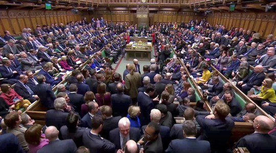 British MPs prepare to vote for the Brexit deal in Parliament in London, Britain, March 12, 2019, in this screen grab taken from video. Reuters TV via REUTERS