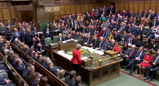 British Prime Minister Theresa May speaks after tellers announced the results of the vote Brexit deal in Parliament in London, Britain, March 12, 2019, in this screen grab taken from video. Reuters TV via REUTERS