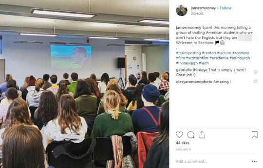METRO GRAB INSTAGRAM A UNIVERSITY lecturer was accused of committing a hate crime after quoting an 'anti-English' speech from hit film Trainspotting. James Mooney, a film and philosophy lecturer at Edinburgh University, was reported to police over a post he wrote on his Instagram page after showing the 1996 movie to a visiting group of students from America. https://www.instagram.com/jamesmooney/?hl=en