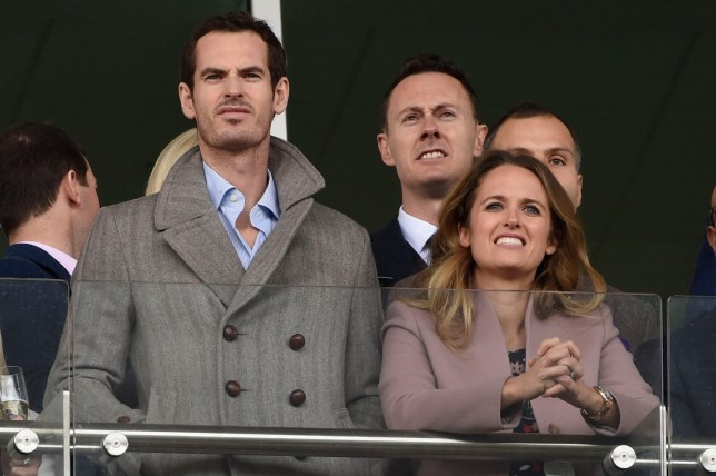 BGUK_1515874 - Cheltenham, UNITED KINGDOM - One of the key events in the British Horse Racing calendar - Day 2 of the 2019 Cheltenham Festival on ladies day. Racegoers are braving the weather with wet and windy conditions forecast for the coming days. Pictured: Andy Murray - Kim Sears - Kim Murray BACKGRID UK 13 MARCH 2019 BYLINE MUST READ: James Watkins / BACKGRID UK: +44 208 344 2007 / uksales@backgrid.com USA: +1 310 798 9111 / usasales@backgrid.com *UK Clients - Pictures Containing Children Please Pixelate Face Prior To Publication*