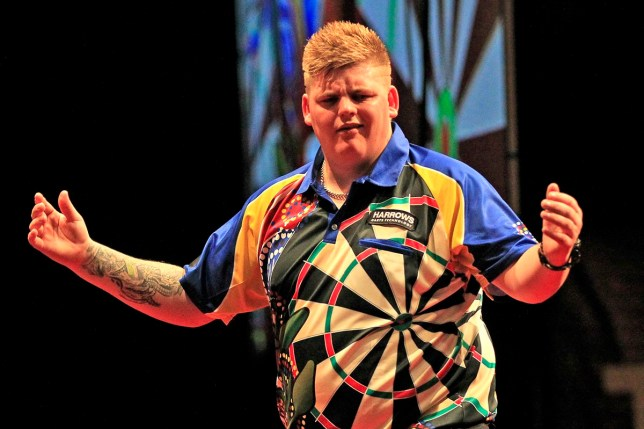 25th August 2017, HBF Stadium, Perth, Australia; Perth Darts Masters, First Round; Corey Cadby reacts to his throw against Raymond van Barneveld during their match Barneveld won 6-5 (Photo by David Woodley/Action Plus via Getty Images)