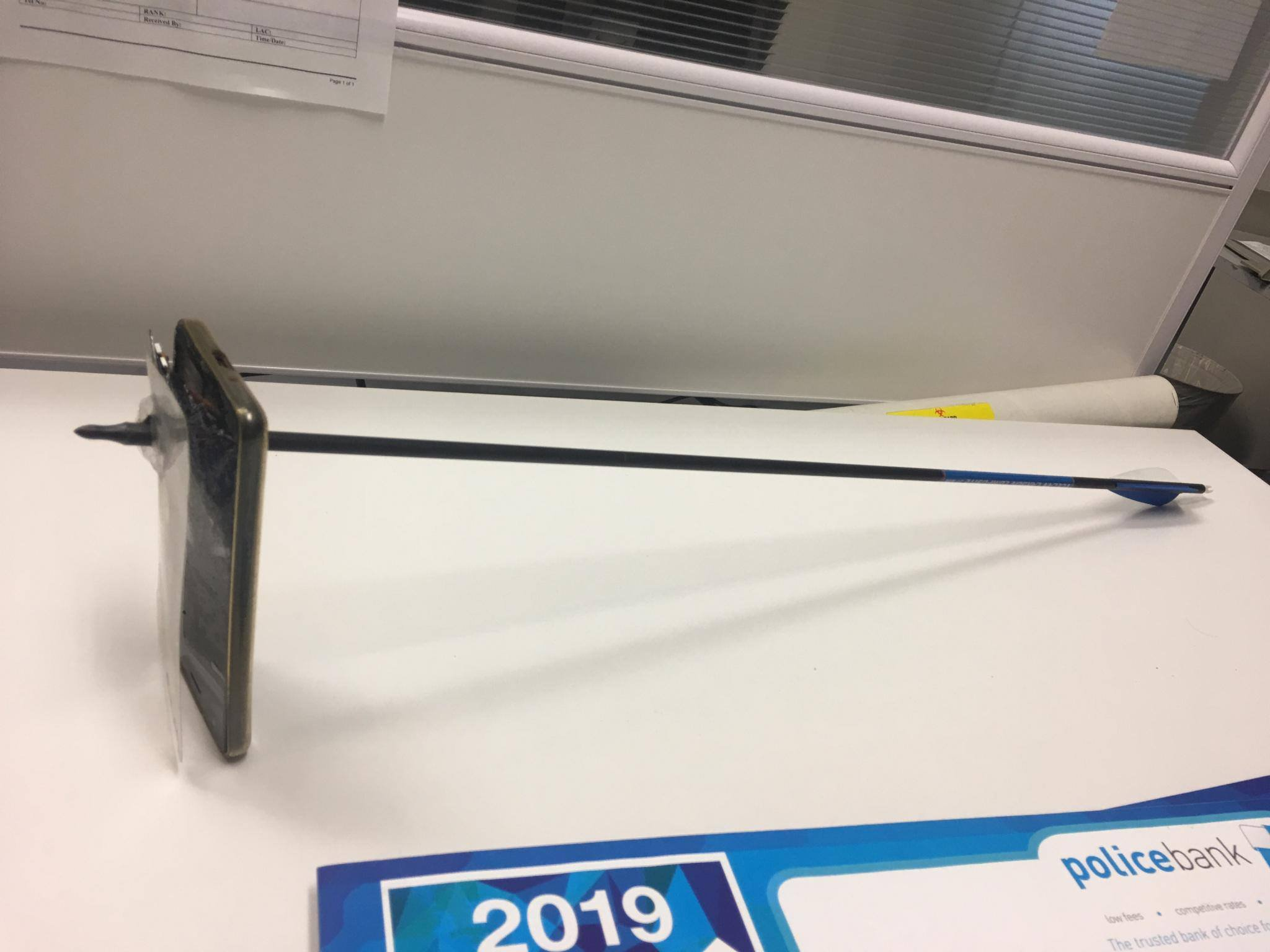 METRO GRAB FACEBOOK iPhone saves a mans life by taking an arrow that was meant for him NSW Police Force 21 hrs ?? A man has been charged after he allegedly fired a bow and arrow at another man in Nimbin today. About 9am (Wednesday 13 March 2019), a 43-year-old man drove into his driveway on Nimbin Road and got out of his car. He noticed another man, who is known to him, standing outside his property allegedly armed with a bow and arrow. The resident held up his mobile phone to take a photo of the armed man who then engaged the bow and was ready to fire. It???s alleged the man fired the arrow at the resident which pierced through the man???s mobile phone causing the phone to hit him in the chin. It left a small laceration that didn???t require medical treatment. Officers from Richmond Police District were called and arrested a 39-year-old man at the scene. He was taken to Nimbin Police Station where he was charged with armed with intent to commit an indictable offence, assault occasioning actual bodily harm and malicious damage. He was granted conditional bail to appear in Lismore Local Court on Monday 15 April 2019. https://www.facebook.com/nswpoliceforce/posts/10156626157561185