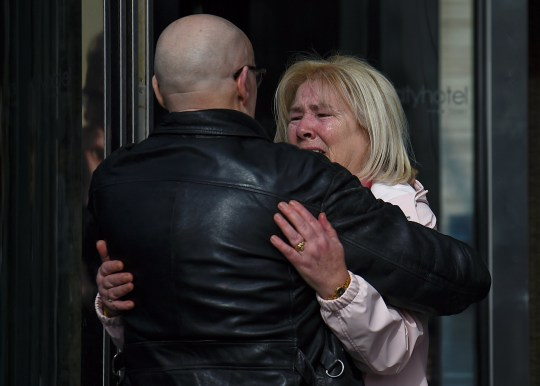 Linda Nash and campaigner Eamonn McCann react after the announcement of the decision whether to charge soldiers involved in the Bloody Sunday events, in Londonderry, Northern Ireland March 14, 2019. REUTERS/Clodagh Kilcoyne