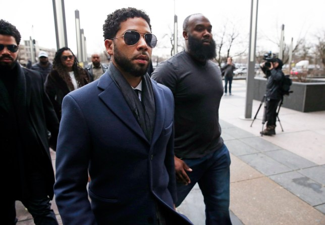 "CHICAGO, IL - MARCH 14: Actor Jussie Smollett arrives at Leighton Criminal Courthouse on March 14, 2019 in Chicago, Illinois. Smollett stands accused of arranging a homophobic, racist attack against himself in an attempt to raise his profile because he was dissatisfied with his salary on the Fox television drama ""Empire."" (Photo by Nuccio DiNuzzo/Getty Images)"