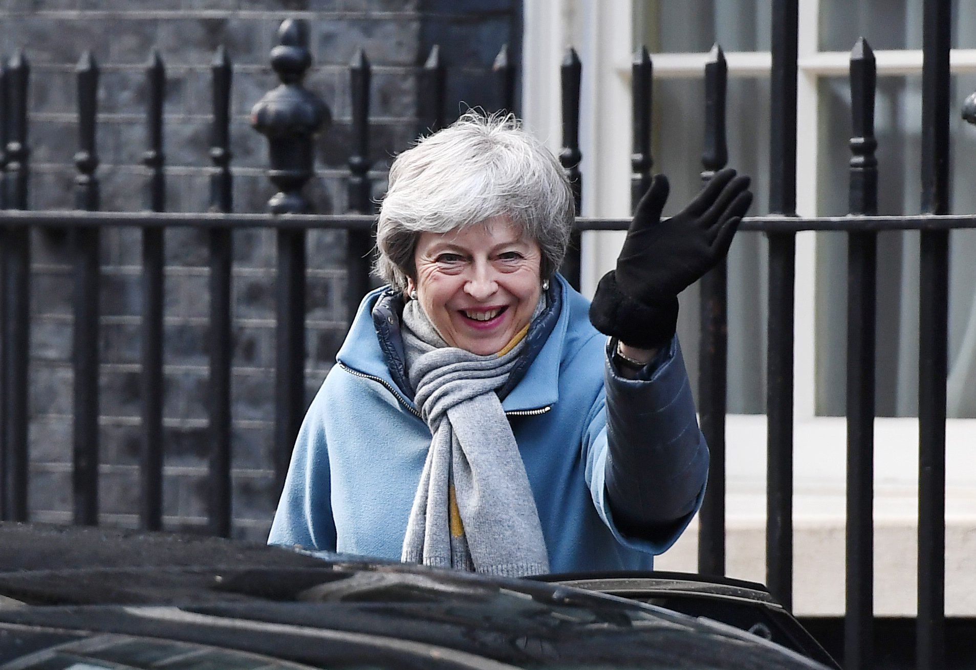 epa07436865 British Prime Minister, Theresa May leaves Downing Street in London, Britain, 14 March 2019. Members of Parliament are set to vote on whether to ask European Union for permission to delay Brexit later in the day after they rejected no-deal Brexit on 13 March. EPA/ANDY RAIN