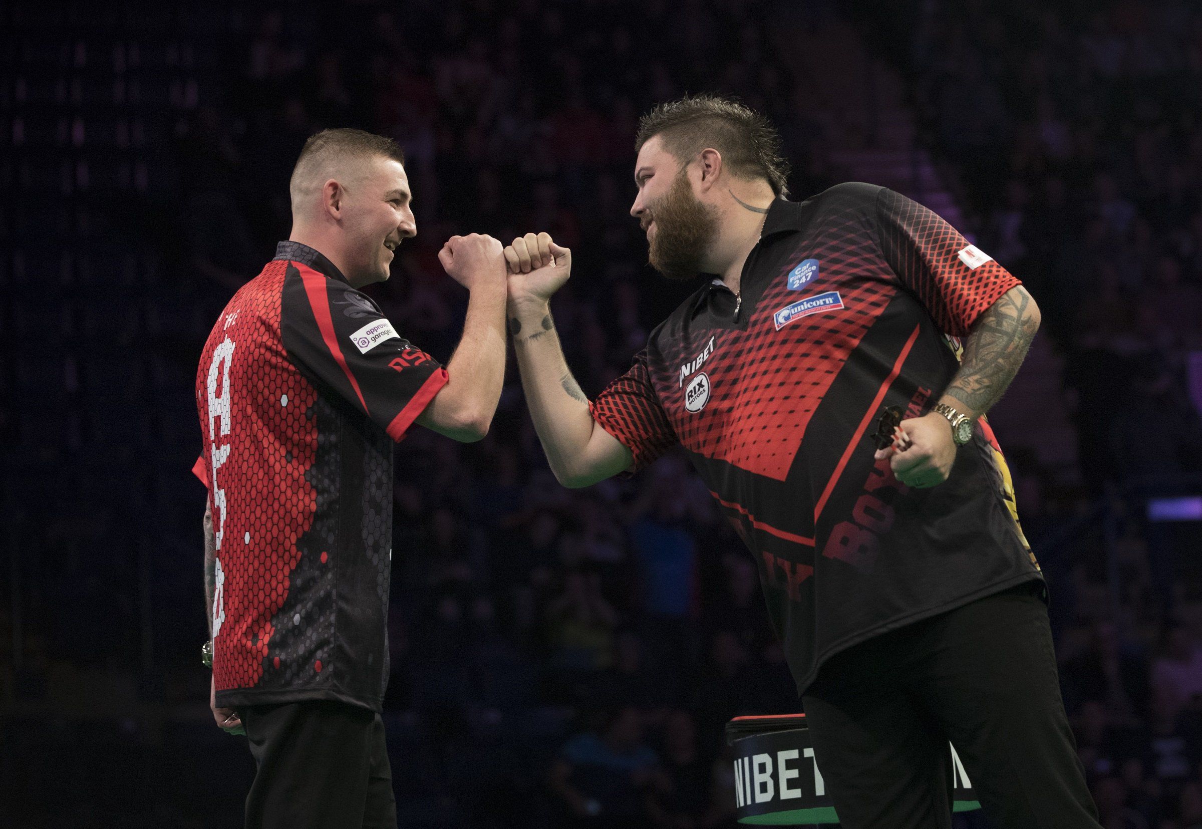 UNIBET PREMIER LEAGUE DARTS 2019 MOTORPOINT ARENA, NOTTINGHAM PIC LAWRENCE LUSTIG MICHAEL SMITH V NATHAN ASPINALL MICHAEL SMITH IN ACTION