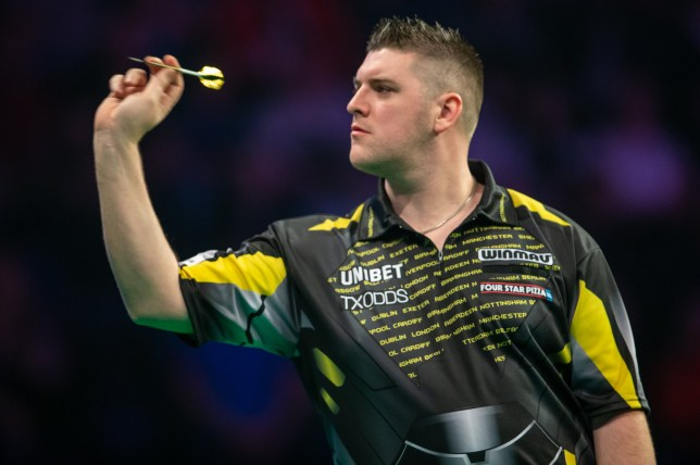 14th March 2019, Motorpoint Arena, Nottingham, England; Unibet Premier League Darts, night 6; Daryl Gurney in his match Peter Wright (photo by Tim Williams/Action Plus via Getty Images)