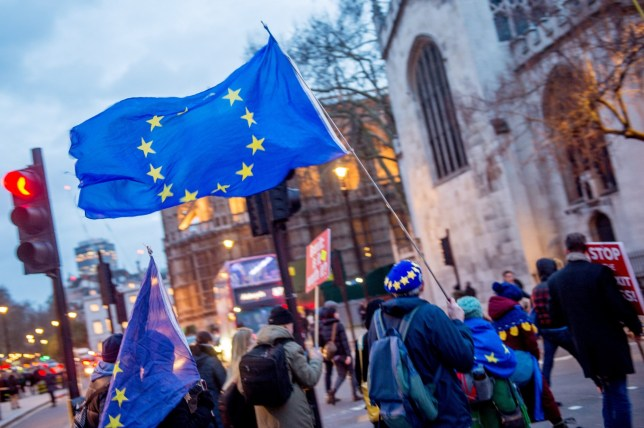 """BGUK_1517688 - London, UNITED KINGDOM - Pro-remain and Pro-Brexit Ukip protesters rally outside parliament in Westminster London on March 13th 2019, as Parliament met to vote on a motion tabled by Prime Minister Teresa may regarding a no-deal Brexit scenario. The motion reads """"That this House declines to approve leaving the European Union without a Withdrawal Agreement and a Framework for the Future Relationship on 29 March 2019; and notes that leaving without a deal remains the default in UK and EU law unless this House and the EU ratify an agreement.???. MP rejected a No-Deal Brexit by a majority of 149. The United Kingdom is officially due to leave the European Union on 29 March 2019, two years after triggering Article 50 in consequence to a referendum. Pictured: General Views BACKGRID UK 13 MARCH 2019 BYLINE MUST READ: REGIONAL MUSIC / BACKGRID UK: +44 208 344 2007 / uksales@backgrid.com USA: +1 310 798 9111 / usasales@backgrid.com *UK Clients - Pictures Containing Children Please Pixelate Face Prior To Publication*"""