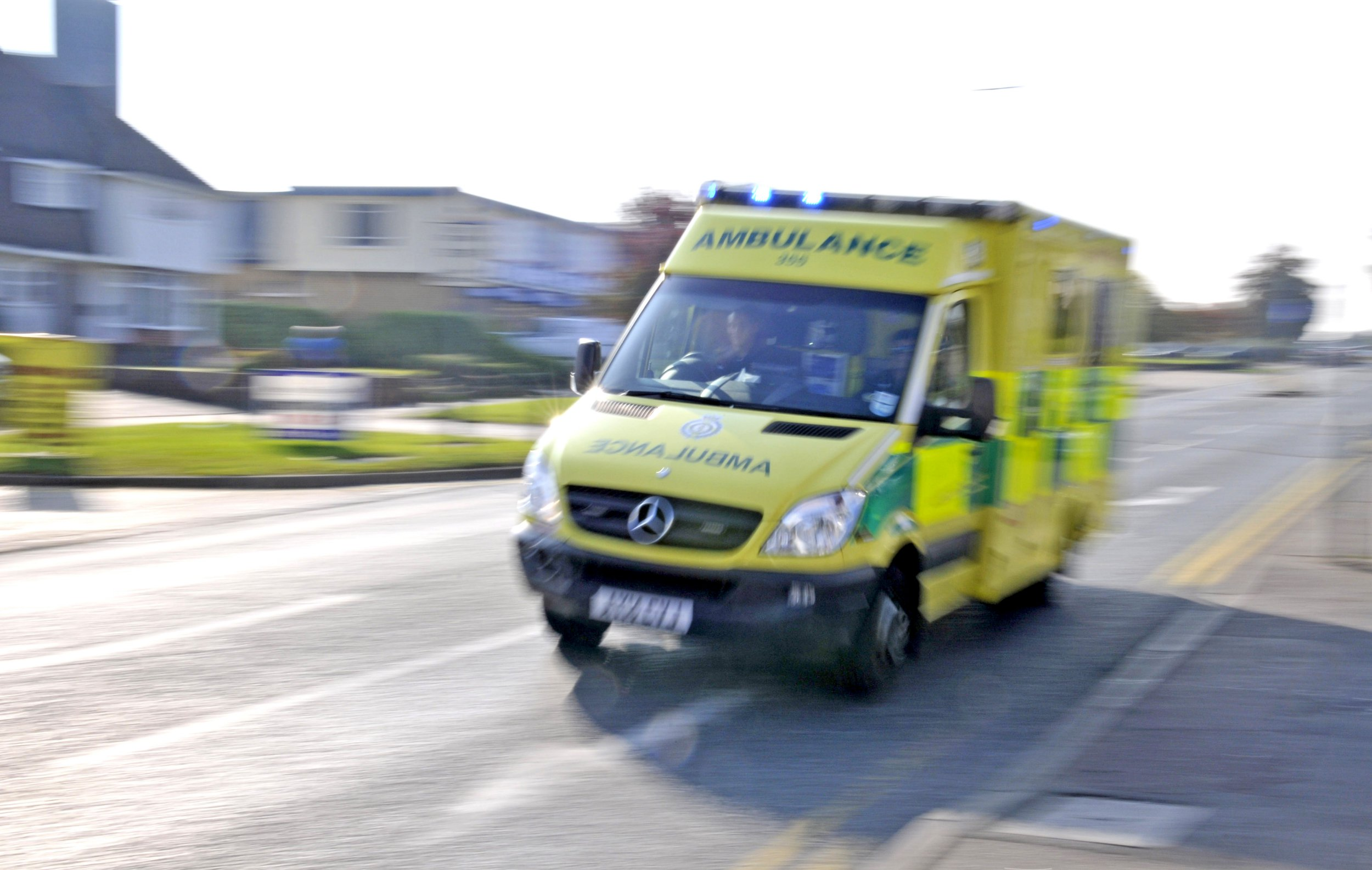 SOUTHEND ON SEA, UNITED KINGDOM - OCTOBER 04: An ambulance is seen on an emergency call on October 4, 2015 in Southend on Sea, England. (Photo by John Keeble/Getty Images)