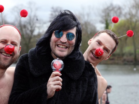 Noel Fielding watches as Benedict Cumberbatch swims in cold water for Comic Relief 2019