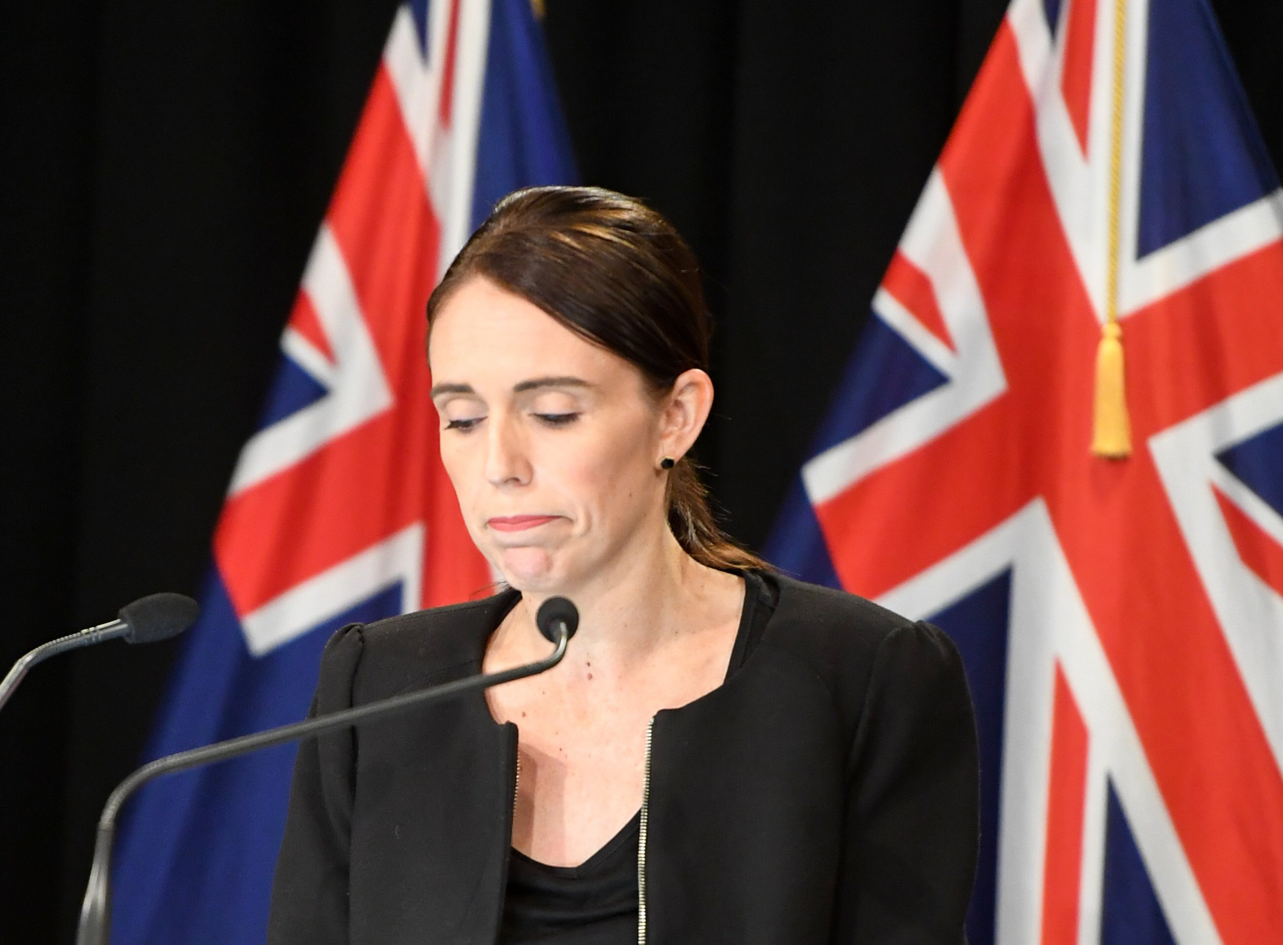 (190316) -- WELLINGTON, March 16, 2019 (Xinhua) -- New Zealand Prime Minister Jacinda Ardern reacts during a briefing in Wellington, capital of New Zealand, on March 16, 2019. Jacinda Ardern reiterated to the public on Saturday morning that the country's gun law will be changed. Gunmen opened fire in two separate mosques in Christchurch on Friday, killing 49 people and wounding 48 others. (Xinhua/Guo Lei) PHOTOGRAPH BY Xinhua / Barcroft Images