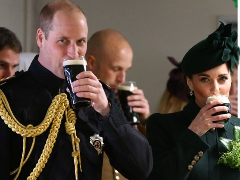 Kate and William join St Patrick's Day celebrations by sinking a pint of Guinness