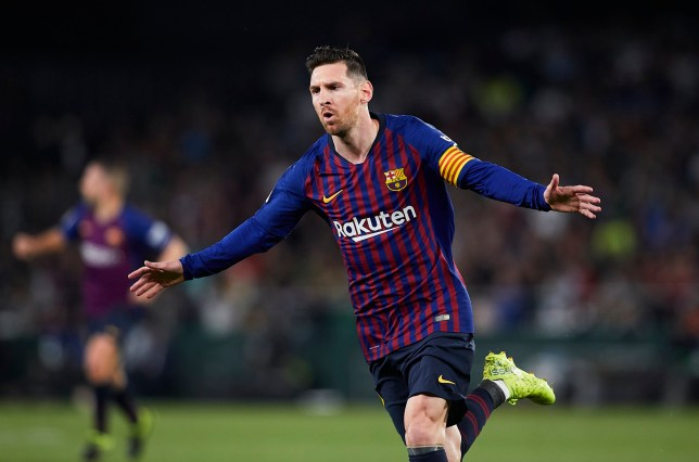 SEVILLE, SPAIN - MARCH 17: Lionel Messi of FC Barcelona celebrates scoring his team's opening goal during the La Liga match between Real Betis Balompie and FC Barcelona at Estadio Benito Villamarin on March 17, 2019 in Seville, Spain. (Photo by Quality Sport Images/Getty Images)