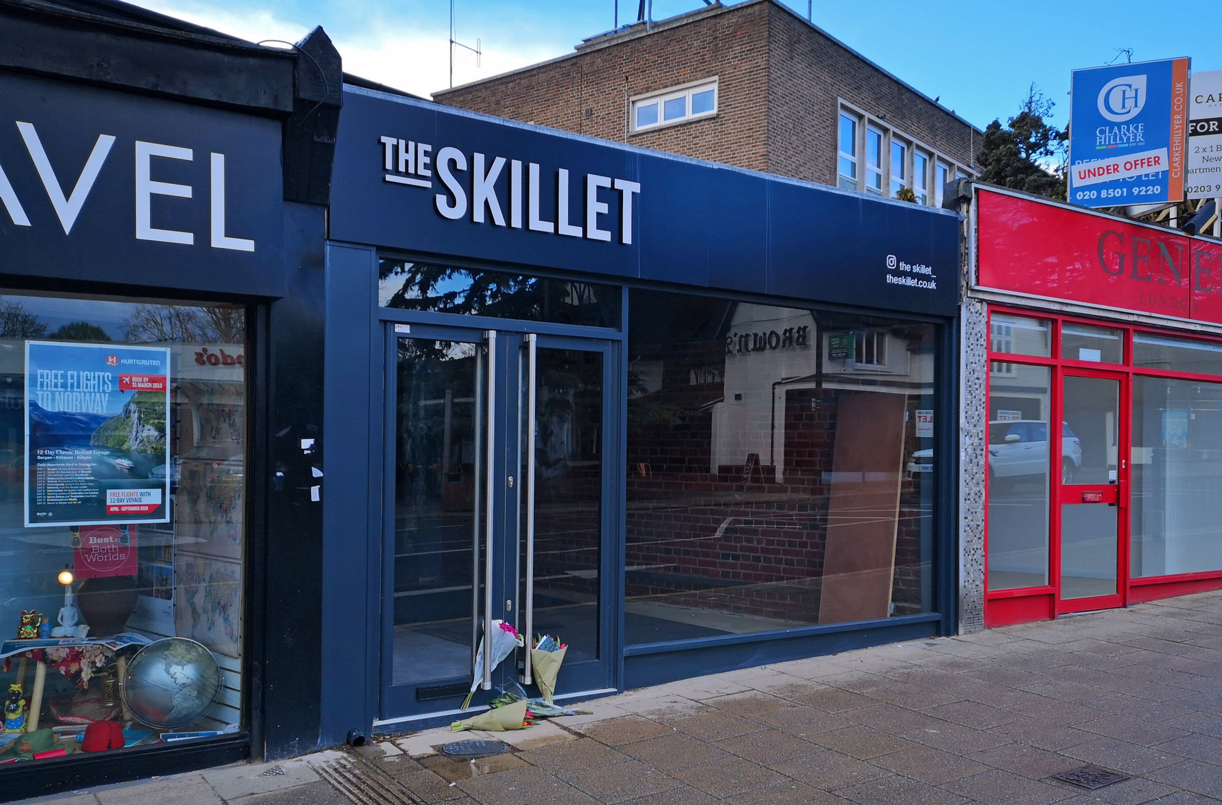 Flowers left at door of restaurant which Mike Thalassitis was due to launch next week