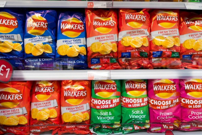 CARDIFF, UNITED KINGDOM - SEPTEMBER 21: Multiple bags of Walkers crisps on display in a supermarket on September 21, 2017 in Cardiff, United Kingdom. (Photo by Matthew Horwood/Getty Images)