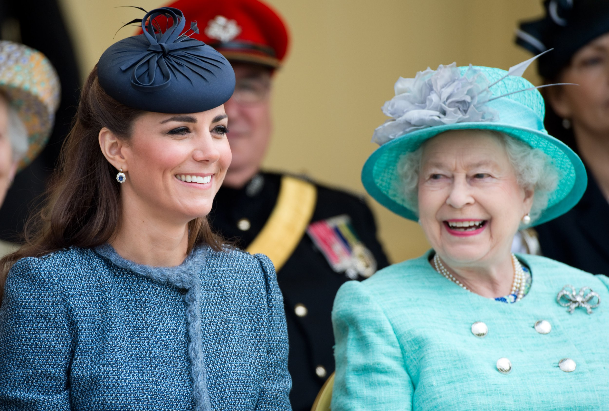 Queen Elizabeth ll and Kate Middleton, Duchess of Cambridge smiling together at Vernon Park
