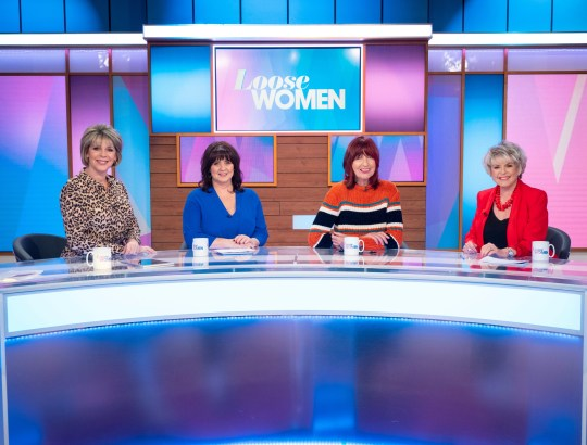 Editorial use only Mandatory Credit: Photo by Ken McKay/ITV/REX (10159951b) Ruth Langsford, Coleen Nolan, Janet Street-Porter and Gloria Hunniford 'Loose Women' TV show, London, UK - 19 Mar 2019