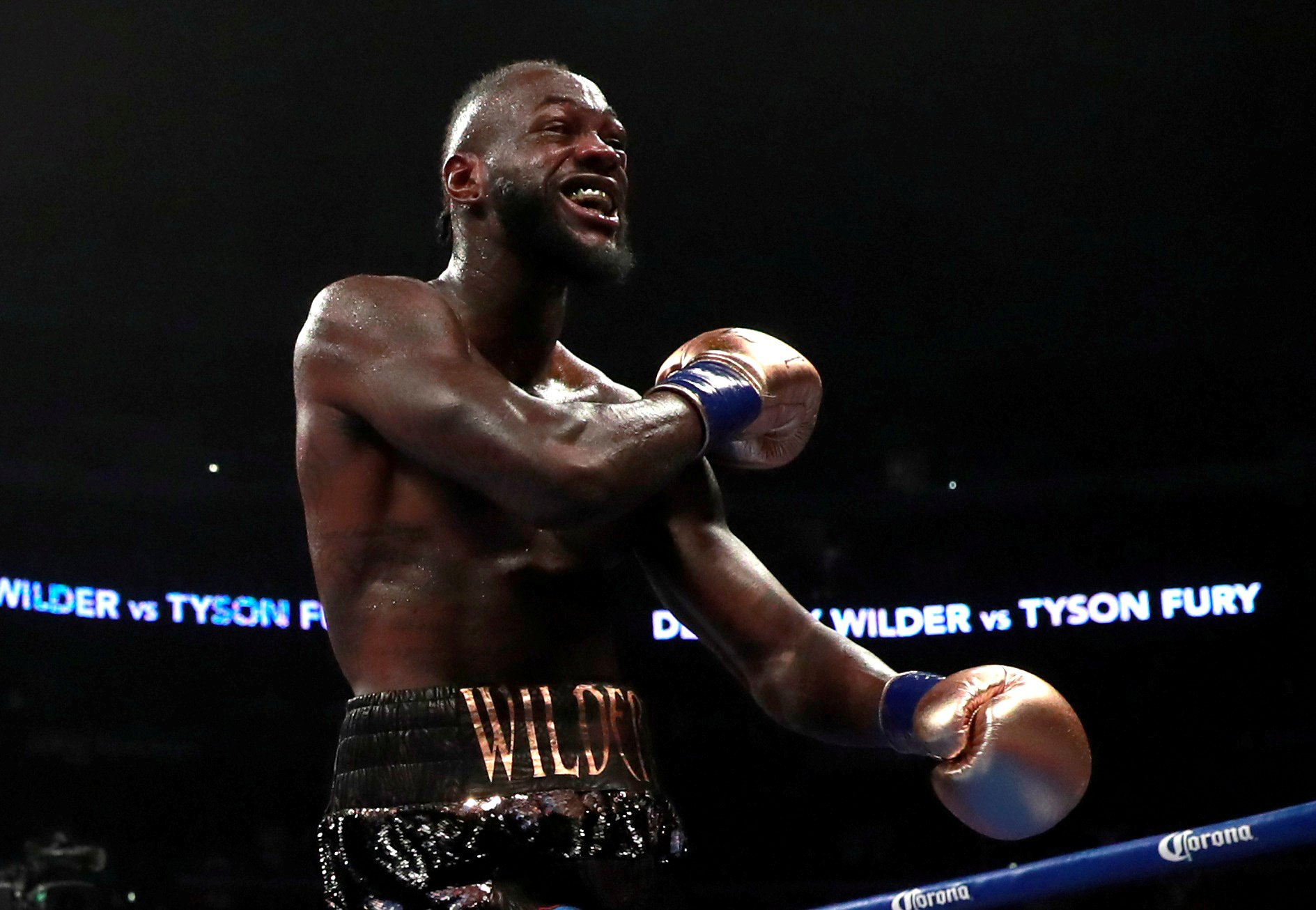 FILE PHOTO: Boxing - Deontay Wilder v Tyson Fury - WBC World Heavyweight Title - Staples Centre, Los Angeles, United States - December 1, 2018 Deontay Wilder reacts after knocking down Tyson Fury Action Images via Reuters/Andrew Couldridge/File Photo