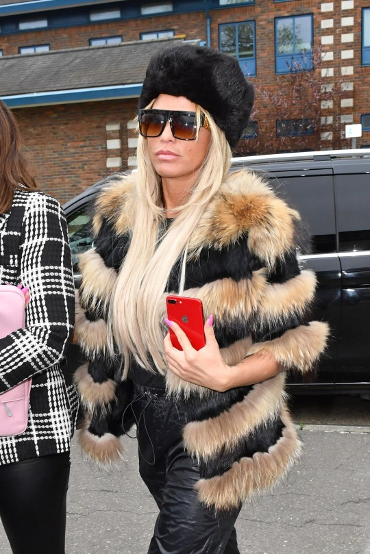 20 March 2019. Katie Price trial at Crawley Magistrates Court, West Sussex. Katie was appearing on a charge of threatening words or behaviour towards her ex Kieran Hayler's new girlfriend outside a primary school. Price is accused of directing the verbal onslaught at Hayler's new girlfriend Michelle Penticost while picking up her children Jett and Bunny, leaving other parents shocked. Katie P{rice arriving at court Credit: Andy Oliver/GoffPhotos.com Ref: KGC-143