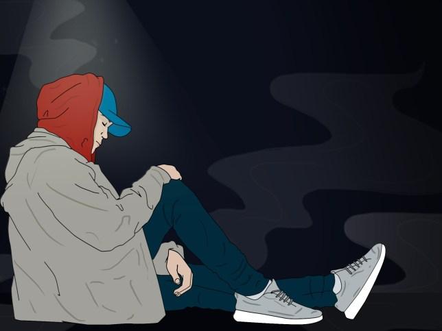 Illustration of man sitting