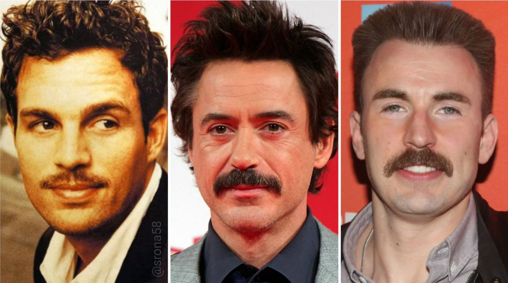 Robert Downey Jr questions our loyalty by making us choose between his moustache and Mark Ruffalo and Chris Evans'
