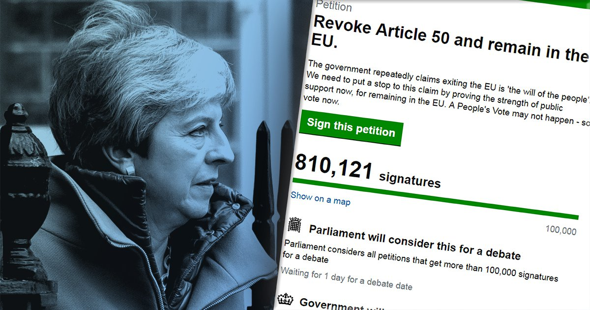 Revoke Article 50 petition hits 1,000,000 signatures – fastest in history
