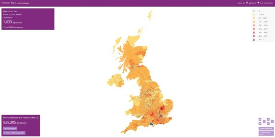 Revoke article 50: where are people voting Provider: Petition Map Source: