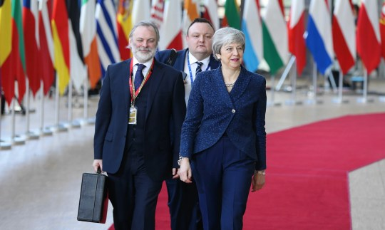 BRUSSELS, BELGIUM - MARCH 21: Britain's Prime Minister Theresa May arrives to speak to media as she arrives at the European Council summit in Brussels, Belgium, 21 March 2019. (Photo by Dursun Aydemir/Anadolu Agency/Getty Images)