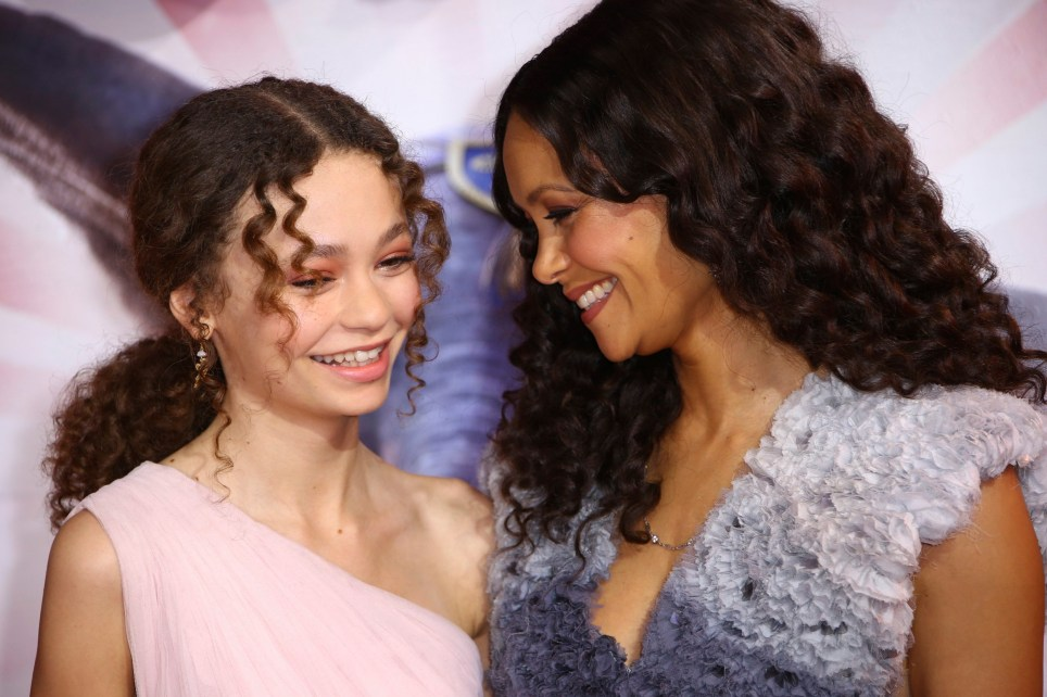 Actress Thandie Newton, right, and her daughter Nico Parker pose for photographers upon arrival at the premiere of the film 'Dumbo' in London, Thursday, March 21, 2019. (Photo by Joel C Ryan/Invision/AP)