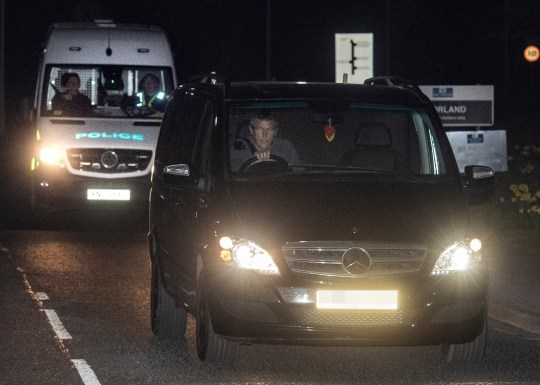 BGUK_1524197 - Doncaster, UNITED KINGDOM - *Video also available via Backgrid* Sunderland footballer Adam Johnson pictured leaving HMP Moorland prison in Doncaster during the night. Johnson left the prison at spot on midnight and was picked up by his father after serving 3 and a half years inside. Johnson was picked up by his Father and quickly whisked off back to his County Durham home *Video also available via Backgrid* Pictured: Dave Johnson, Adam Johnson, HMP Moorland BACKGRID UK 21 MARCH 2019 BYLINE MUST READ: CROSBY / BACKGRID UK: +44 208 344 2007 / uksales@backgrid.com USA: +1 310 798 9111 / usasales@backgrid.com *UK Clients - Pictures Containing Children Please Pixelate Face Prior To Publication*