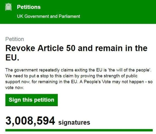 Revoke Article 50 and remain in the EU petition reaches thee million.