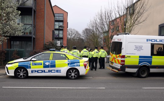 Pic shows: Swarms of police arrive to begin questioning residents on the Harmony Estate. Scene at Union Lane, Isleworth today where a 17 year old boy was stabbed to death on Friday evening. The scene was in Union Lane which is the location of expensive looking blocks of flats and flash cars pic by Gavin Rodgers/Pixel8000