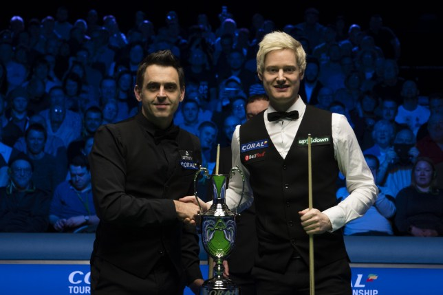 LLANDUDNO, WALES - MARCH 23: Ronnie O'Sullivan (L) of England and Neil Robertson of Australia pose before the final match on day five of 2019 Coral Tour Championship at Venue Cymru on March 23, 2019 in Llandudno, Wales. (Photo by Tai Chengzhe/VCG via Getty Images)