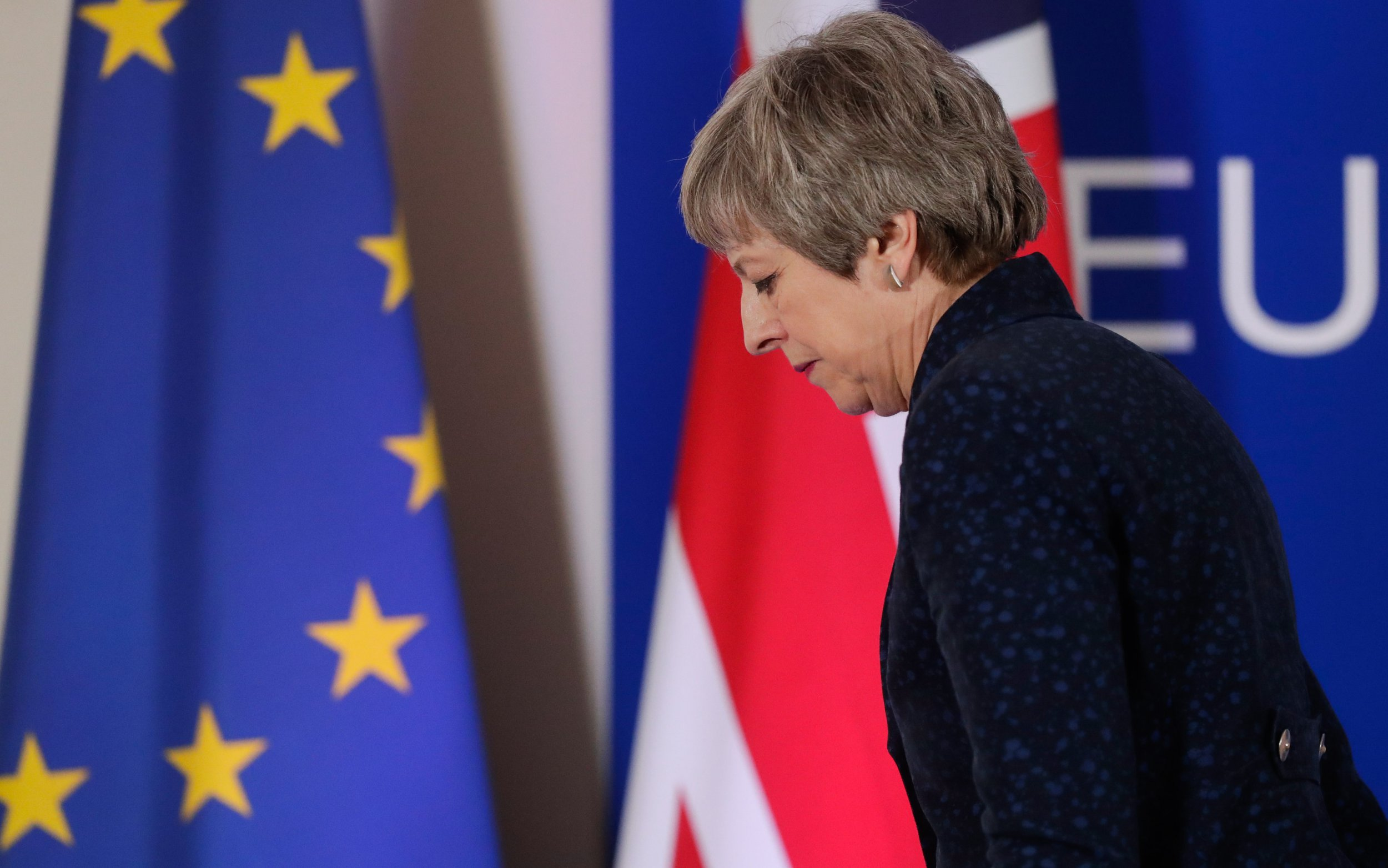 epa07459698 (FILE) - Britain's Prime Minister Theresa May leaves after a press briefing at the end of article 50 session at the European Council in Brussels, Belgium, 21 March 2019 (reissued 24 March 2019). According to reports in some British Sunday newspapers and online media, the Prime Minister could be replaced by an interim leader who would lead the UK through Brexit. The reports say that cabinet ministers plan to oust May as prime minister and replace her with a 'caretaker leader' until a proper leadership competition takes place later in the year. EPA/STEPHANIE LECOCQ