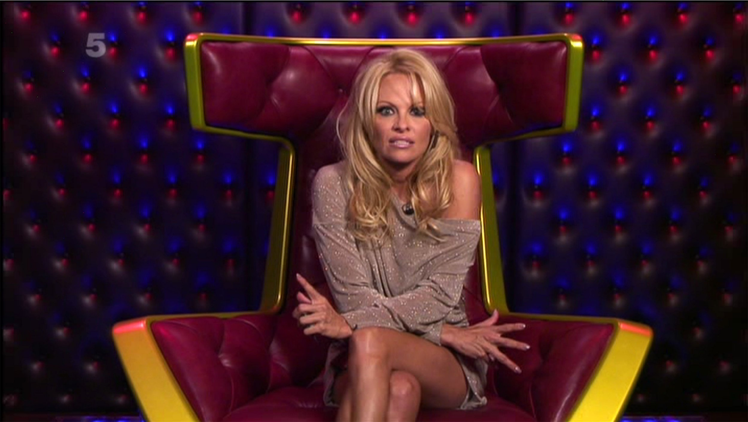 Rex Features Ltd. do not claim any Copyright or License of this image. Mandatory Credit: Photo by REX/Shutterstock (1439559aj) Pamela Anderson in the diary room answers questions about the housemates to win them food and drink 'Big Brother' TV programme, Elstree Studios, Hertfordshire, Britain - 11 Sep 2011