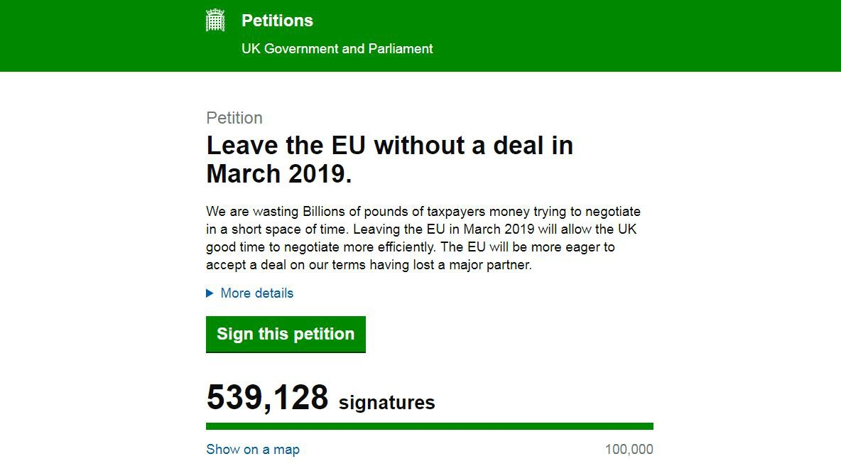 Yes, there's a petition in favour of a no-deal Brexit