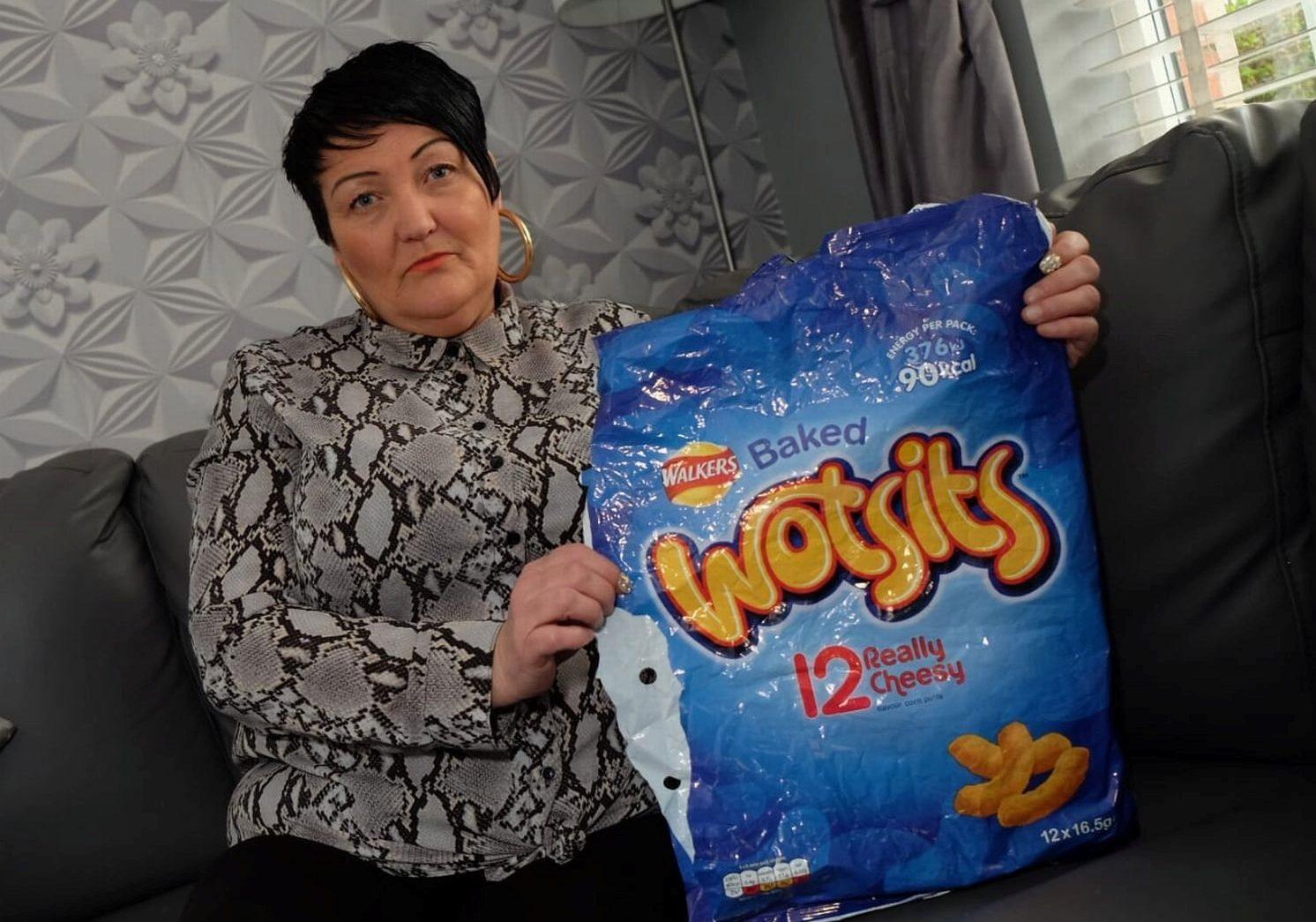 Grandma cheesed off after nearly choking on Wotsit