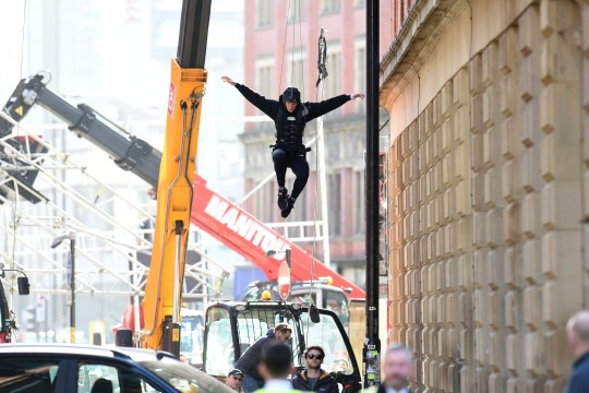Morbius has been filming on the streets of Manchester's Northern Quarter this week and allegedly brought in actors playing rough sleepers (Picture: MCPIX/REX)