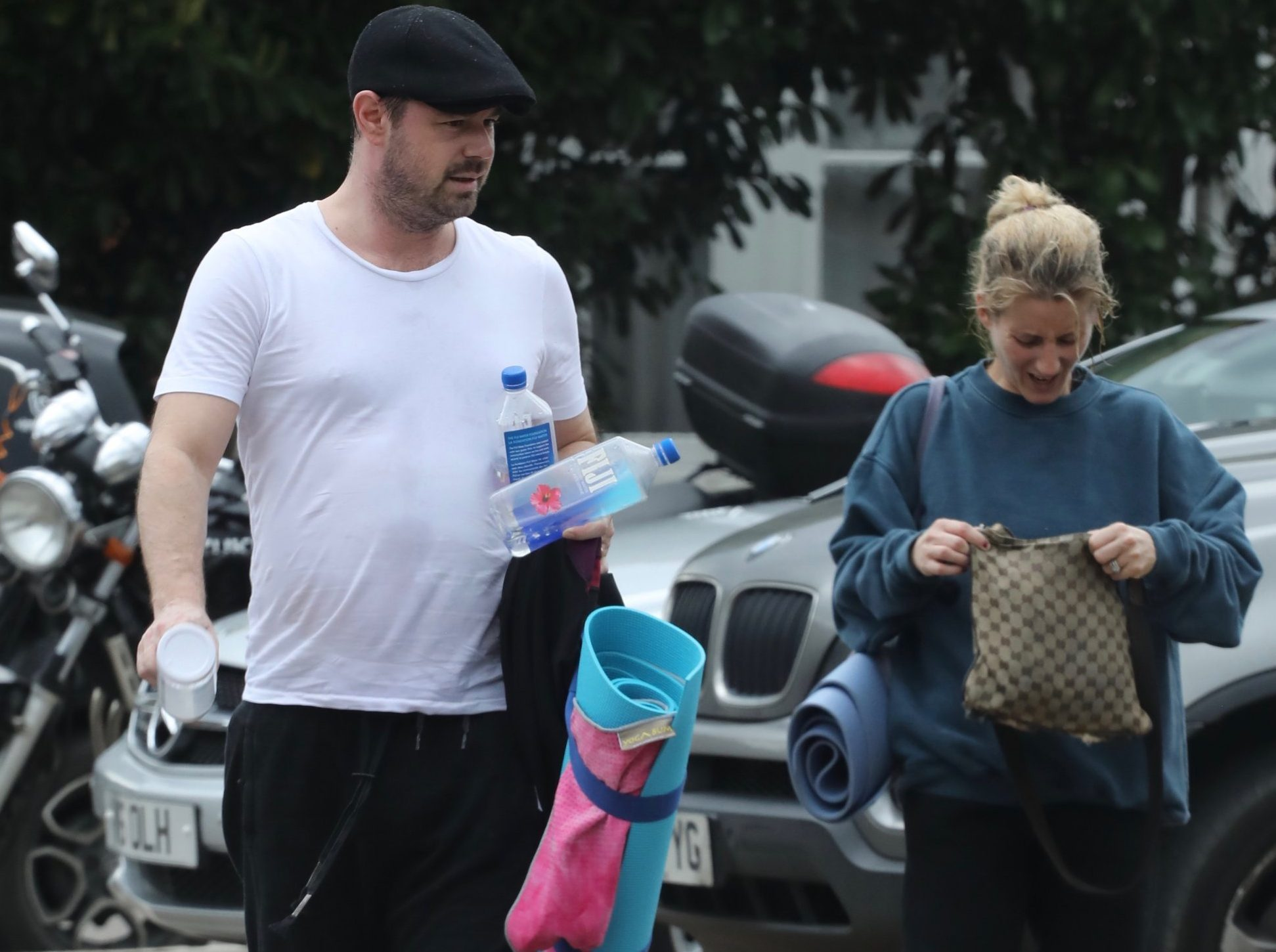 EastEnders tough guy Danny Dyer was seen clutching a Love Island water bottle at a yoga class with wife Jo Mas.